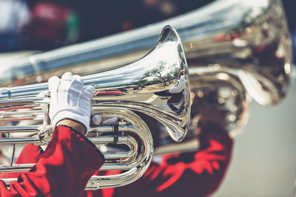 Close up if instrument in a brass marching band