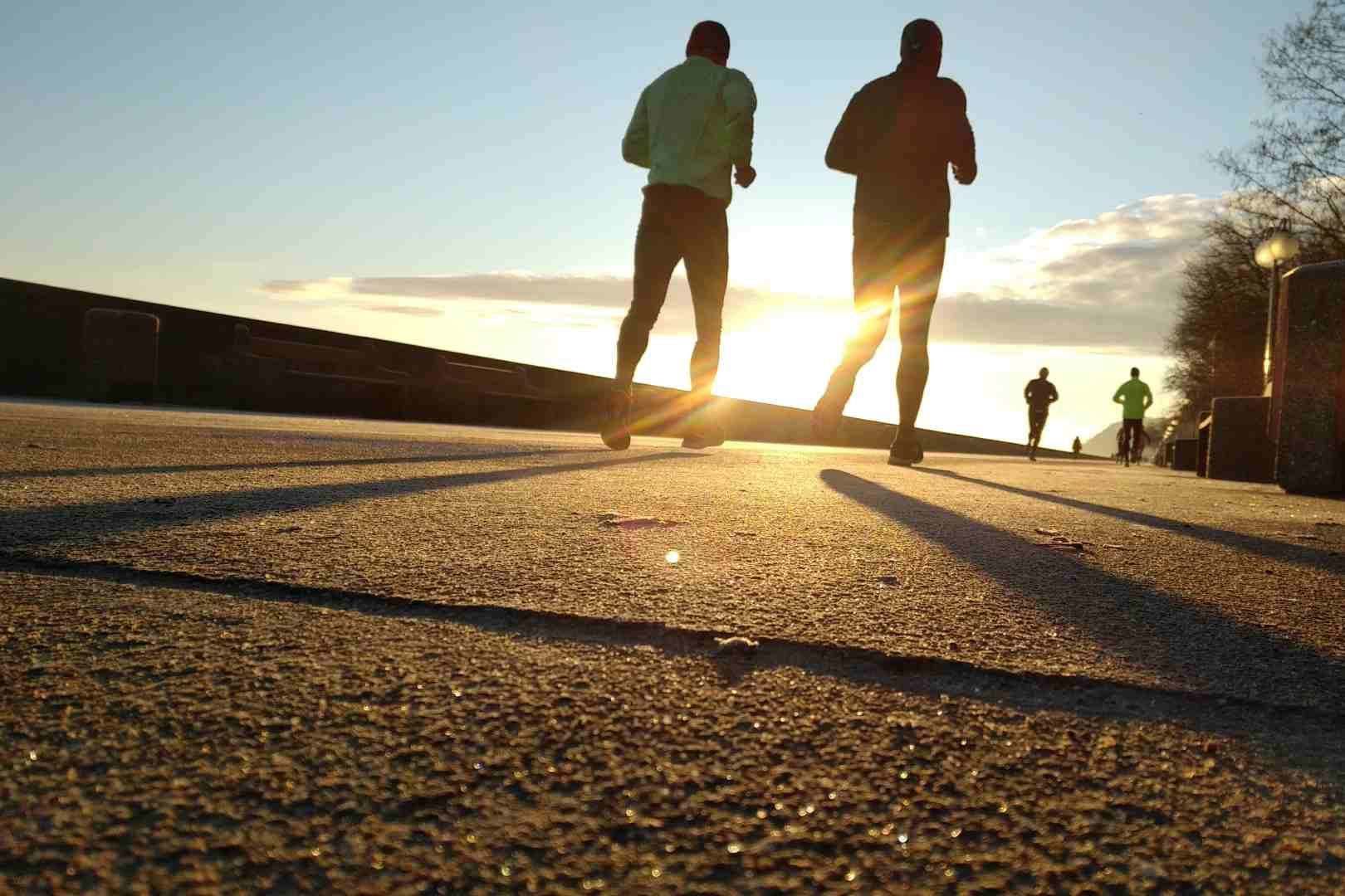 Runners at sunrise